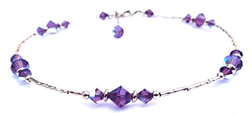 DAMALI Handmade 14K GF Purple Amethyst Beaded Anklet, February Birthstone, Swarovski Crystal Ankle Bracelets