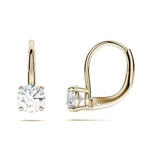 (3.0 ct Brilliant Round Cut Solitaire White Lab Created VVS1 Ideal Sapphire Anniversary gift Leverback Drop Dangle Earrings Real Solid 14k Yellow Gold, ClaraPucci)
