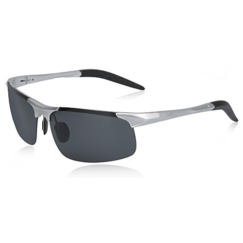 Sunglasses Star Polarized - SUNGAIT Men's HD Polarized Sunglasses for Driving Fishing Cycling Running Metal Frame UV400 (Silver, Gray)