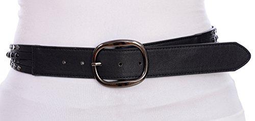Grommet Studded Belt (Sunny Belt Women's Faux Leather Studded Oval Buckle Belt For Jeans Black Medium)