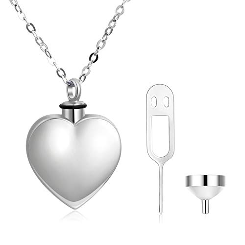 PEIMKO 925 Sterling Silver Love Heart Urn Necklaces Cremation Keepsake Necklace for Ashes Fine Memorial Jewelry