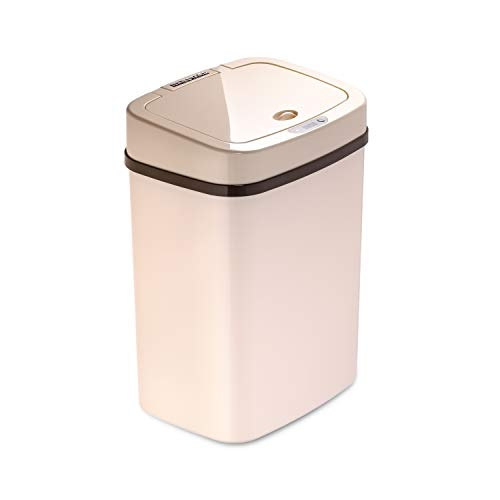 Ninestars DZT-12-5WH Bedroom or Bathroom Automatic Touchless Infrared Motion Sensor Trash Can, 3 Gal 12 L, ABS Plastic (Rectangular, Cream) Trashcan