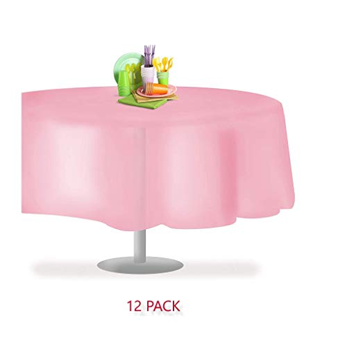 (12 Pack Premium Heavy Duty 84 Inch Round Plastic Tablecloth Table Cover, Reusable, Washable, Waterproof by Millennium Trading (Pink Round, 12 Pack))