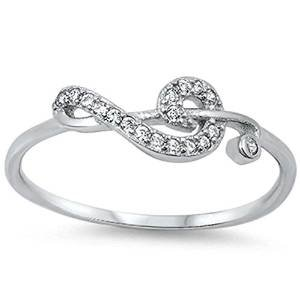 Cubic Zirconia Music Note .925 Sterling Silver Ring Size 11 - Sterling Silver Round Music