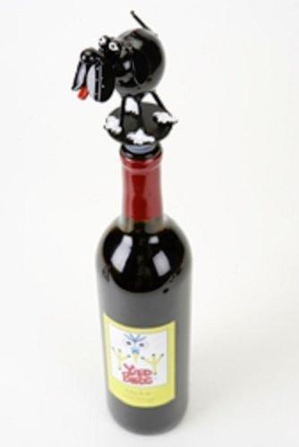 Yardbirds Junkyard Metal Spoonies Black Hound Dog Wine Bottle Stopper - 81448 -