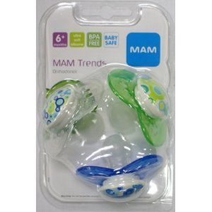 MAM Mam Trends Silicone 3 Pacifiers Value Pack 6+ Months Boy Colors 1CT (Pack of 8)