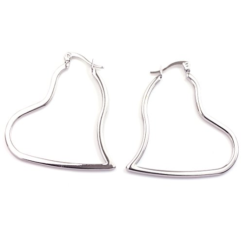 Flat Open Heart Earring (FC JORY Christmas Gifts Rose & White Gold Plated Heart Shape Hoop Earring)
