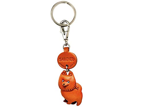 (Samoyed Leather Dog Small Keychain VANCA Craft-Collectible Keyring Charm Pendant Made in Japan)