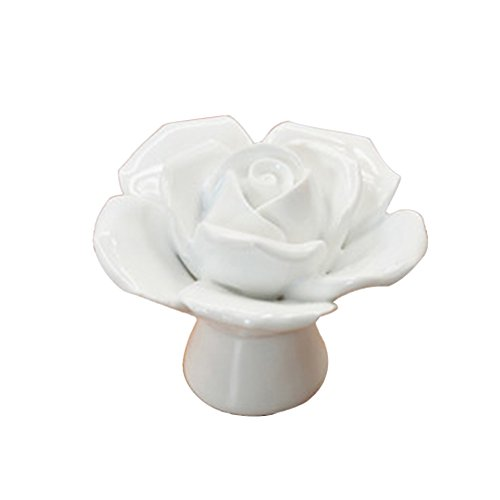 Fengzhicai Fashion Ceramic Rose Flower Knobs Drawer Cupboard Door Porcelain Pull Handle - White (Porcelain Drawer)