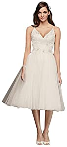 Melissa Sweet Short Tulle V-Neck Wedding Dress Style MS251160