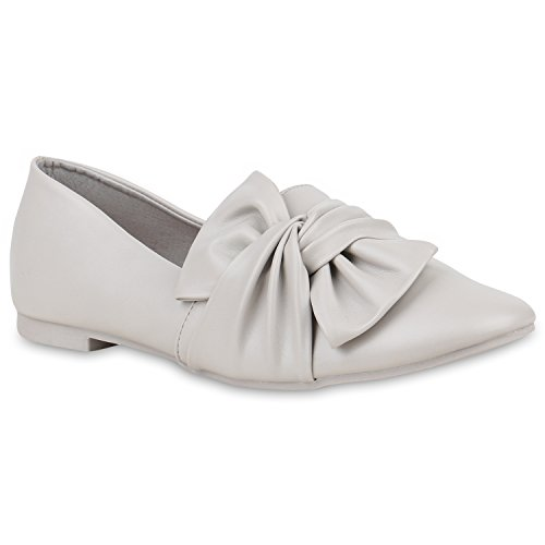 Damen Slipper Loafers Schleifen Glitzer Flats Profilsohle Schuhe Flandell Hellgrau