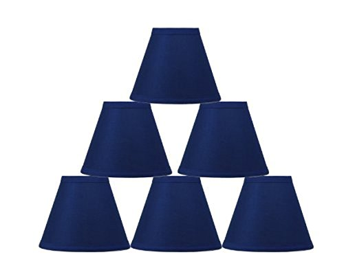 Urbanest Set of 6 Cotton Chandelier Lamp Shade, 3-inch by 6-inch by 5-inch, Indigo, Clip-on, Hardback ()