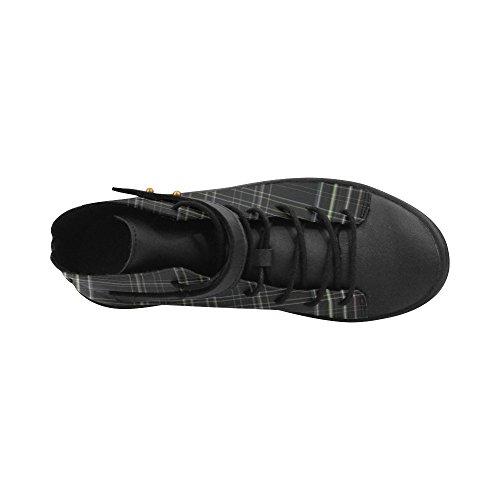 D-story Ronde Neus Hoge Schoenen Zwarte Geruite Damessneakers