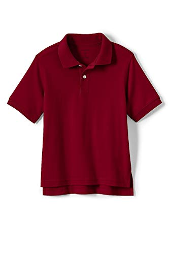 Lands' End School Uniform Kids Short Sleeve Interlock Polo Shirt Red