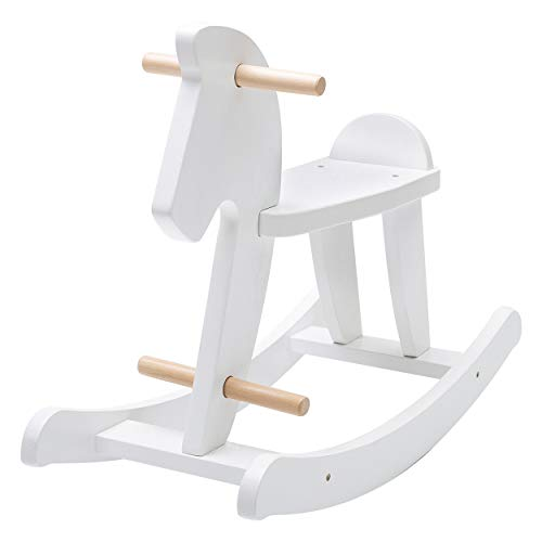 Hessie Classic Antique Wooden Outdoor Rocking Horse, Ride On Toys Rocker in Vintage Legacy Traditional Style for Toddler Kids, Little Boys & Girls, Baby - White Horse (Horses Rocking Traditional Wooden)