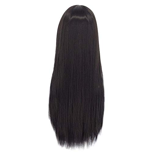 Clearance Long Straight Wig | Inkach Black Womens Synthetic Wigs with Neat Bangs Heat Resistant Costume Party Female Wig Full Human Hair (Black Wig) ()
