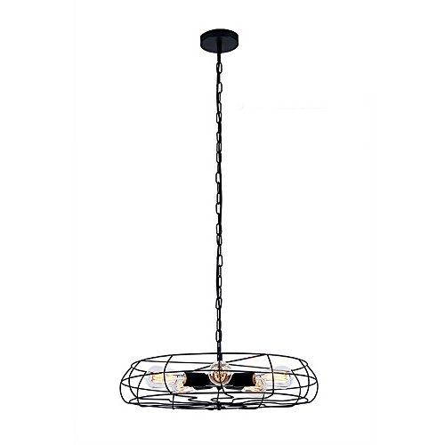 Lingkai Industrial Pendant Light Retro Ceiling Light Vintage Fan Style 5-Light Chandelier Hanging Light Fixture