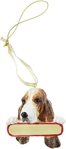 E&S Pets Basset Hound Ornament Santa's Pals with Personalized Name Plate A Great Gift for Basset Hound Lovers