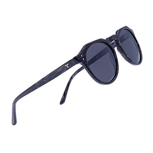 Tacloft Unisex Round Polarized Sunglasses Memory-Acetate Frame Vintage Sun Glasses For Men/Women tl3008 (BlackStone) ()