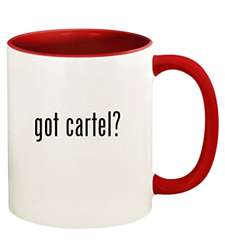 got cartel? - 11oz Ceramic Colored Handle and Inside Coffee Mug Cup, Red
