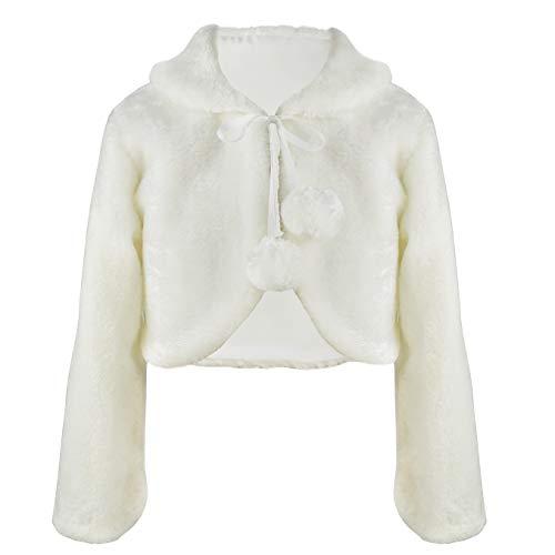 HCABL Girls Faux Fur Dress Coat Flower Girl Bolero Jacket Princess Cape Winter 2-13 -