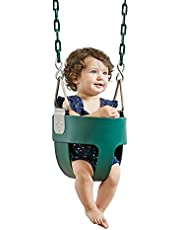 HappyPIE Infant to Toddler Secure Hanging High Back Full Bucket Baby Swing Seat with Chains (Green)