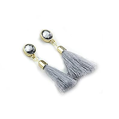848971582 Buy Bold N Elegant Vintage Style Crystal Inaid Silk Thread Long Tassel  Earrings Boho Vintage Ribbon Dangle Drop Earrings for Girls (Grey) Online  at Low ...