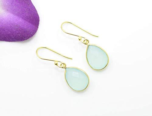 Chalcedony Gold Ring - Teardrop Aqua Chalcedony Gold Earring Silver 925, Pear Drop Blue Gemstone, Berlin Jewellz