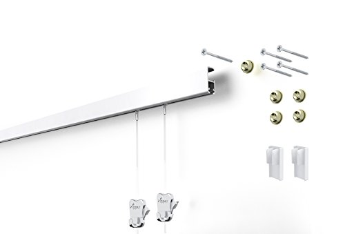 STAS Cliprail Pro Picture Hanging System- Complete Kit (1 rail 2 hooks and cords, white rails)