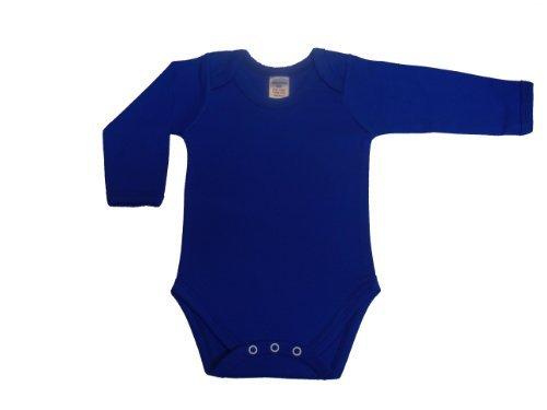 Mameluco de manga larga en cuello v color azul, de 6/12meses, de BabywearUK. de 6/12meses
