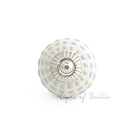 A-Gray #1 Grau Keramik Kommode Schrank Kn/öpfe Griffe Shabby Chic Dekorativ Bunt Boho Unkonventionell Eyes of India