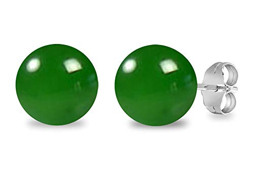 Earrings Green Onyx (Genuine Green Onyx Gemstone Stud Earrings, 925 Sterling Silver, Perfect Gift for Women's And Girls, Secured Butterfly Back Push (7 Cttw, 8 Mm Round Ball))