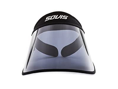 SOVIS Black Extra Length over 99% UVB and UVA2 / 97.2% UVA1 Facial Protection Sun Cap Solar Visor Hat Worldwide Patented