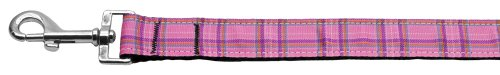 Mirage Pet Products Plaid Nylon Leash for Dogs and Cats, 1-Inch by 4-Feet, Pink ()