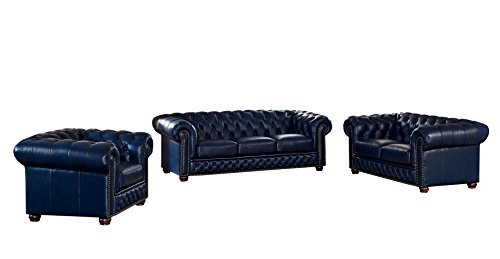 Coja by Sofa4life Pinehurst Leather Sofa, Loveseat and Chair Set, Blue ()