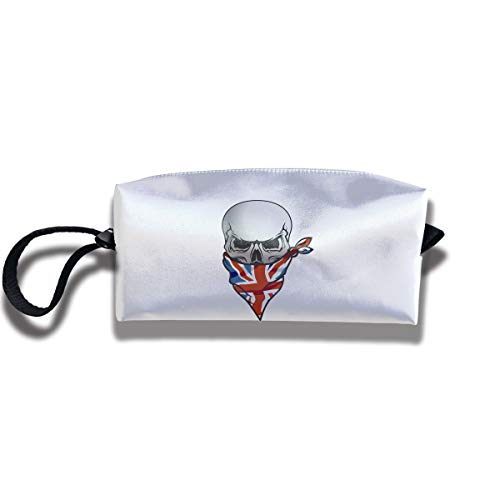 Cosmetic Bags With Zipper Makeup Bag UK Flag Skull Middle Wallet Hangbag Wristlet Holder -