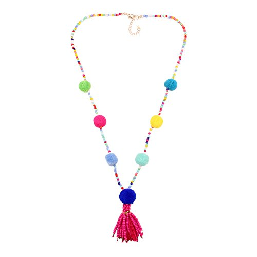 Long Chain Chunky Bead Pendant Necklace for Women Colorful Pom Pom Statement (colorful rosy) -