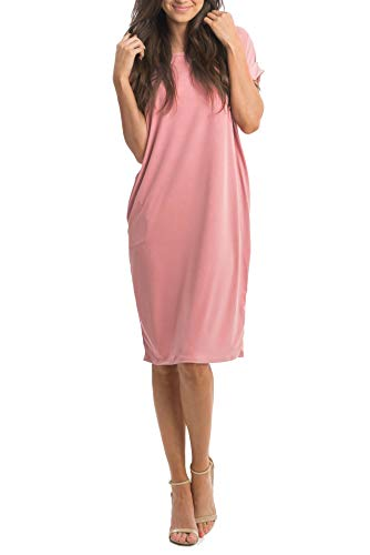 (Ofenbuy Womens Summer Casual Dresses Crew Neck Short Sleeve Loose Midi Dress with Pockets Pink)