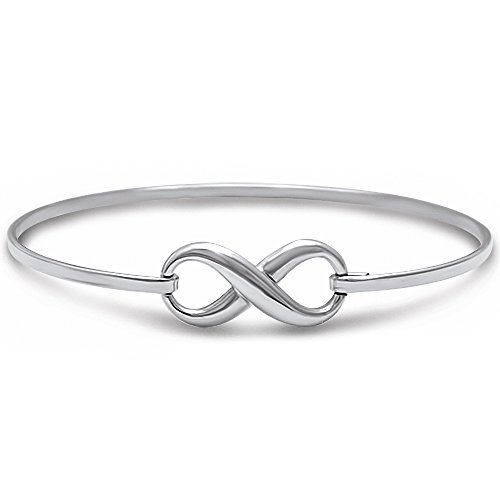 - Solid Sterling Silver Infinity Bangle Style .925 Sterling Silver Bracelet Three Colors Available (sterling-silver)