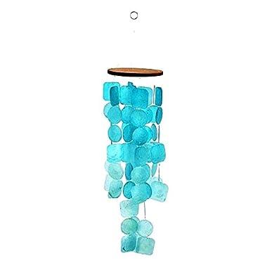 Bellaa 20744 Capiz Windchime Sea Shell Blue Turquoise 26 inch