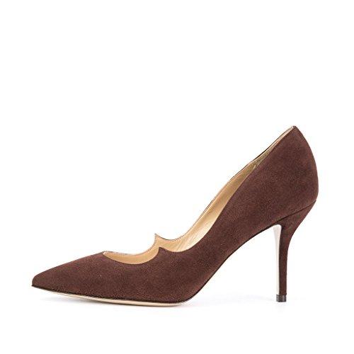 Fsj Vrouwen Chique Puntschoen Pumps Faux Suède Hoge Hakken Slip Op Stilettos Kleding Schoenen Maat 6-13 Ons Chocolate-8 Cm