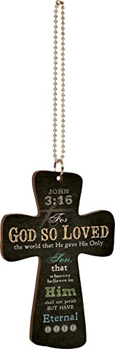 P. Graham Dunn God So Loved The World Black Cross Wood Car Charm