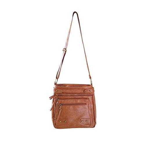 FanCarry Washed Soft PU Leather Crossbody Purse Multi Pocket Shoulder Satchel Bags for Women (Dark Orange-upgraded) by FanCarry (Image #7)