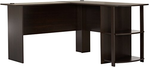Ameriwood Home Dakota L-Shaped Desk with Bookshelves, (Dark Casual Finish)