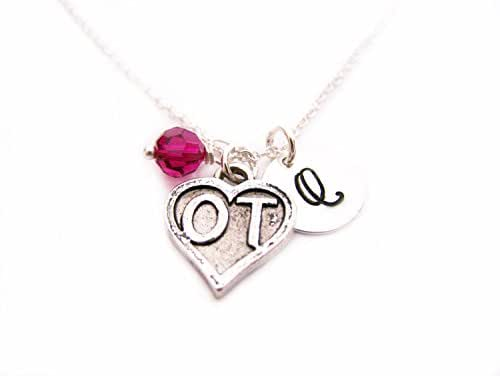 Occupational Therapist OT Necklace - Medical Necklace - Personalized Sterling Silver Jewelry