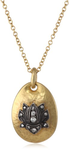 "Sara Weinstock ""Universal Love"" Large Lotus Gold Pendant Necklace"