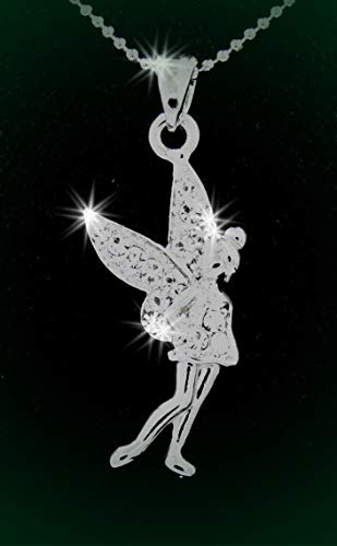 (Silver Tone Tinkerbell Fairy Austrian Crystal Pendant Charm Rhinestone Necklace Set for)