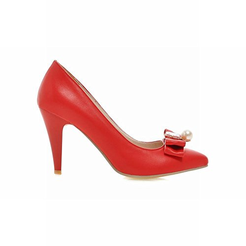 Latasa Kvinna Mode Båge Pekade Tå Hög Klack Klänning Pumps Röd