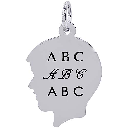 (Rembrandt Charms Engravable Sterling SilverFlat Boy's Head Charm (16.05 x 18.57 mm) )