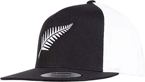 New Zealand Pride | Kiwi Silver Fern Southern Cross Black Baseball Cap Dad Hat-(Trucker, 2 Tone)